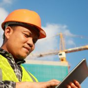 Inspector using CityReporter at construction site